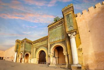 Garden Poster Morocco Old walls with gate Bab Mansour in medina of Meknes. Morocco, North Africaa