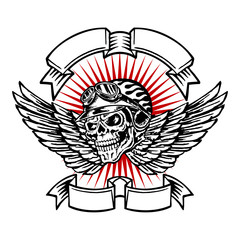 Skull biker helmet emblem, flames, wings and banners, motorcycle vintage graphic design, logo on a white background