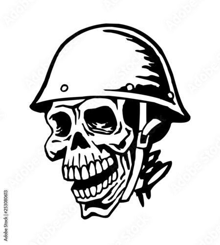Skull soldier in helmet, military badge, symbol of army and