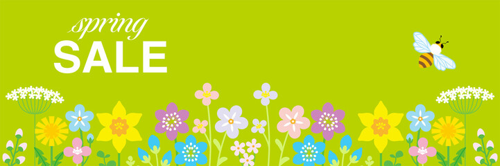"Lined up Colorful Wildflowers and honey bee, including words ""spring SALE"" - header ratio, green color background"