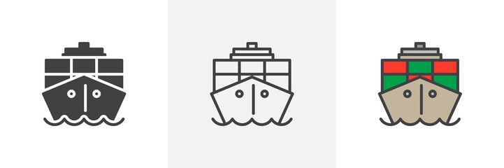 Container, cargo ship icon. Line, glyph and filled outline colorful version, Ship boat outline and filled vector sign. Symbol, logo illustration. Different style icons set. Pixel perfect vector