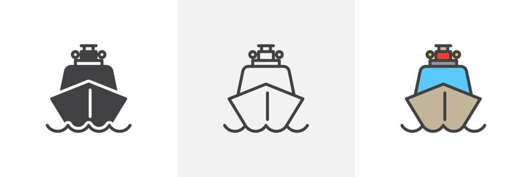 Ship boat icon. Line, glyph and filled outline colorful version, Coast guard ship outline and filled vector sign. Symbol, logo illustration. Different style icons set. Pixel perfect vector graphics