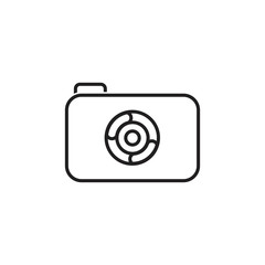 camera lens simple thin line icon logo vector