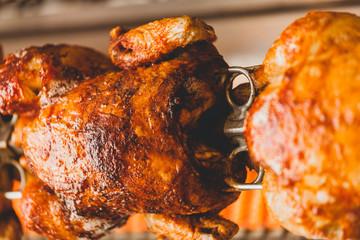 Roasted chicken on rotisserie