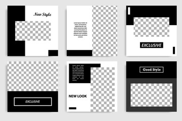 Editable minimal square banner template. Black and white background color. Suitable for social media post and web/internet ads. Vector illustration with photo college.