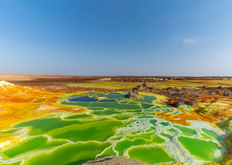 Hot springs bring mineral up to the surface and create fantastic colorful ponds and terraces at Dallol volcano in Danakil Depression of Ethiopia.