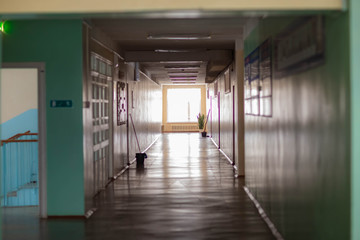 the interior of a rural secondary school in Russia