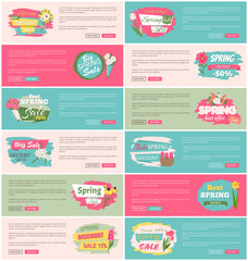Spring sale advertisement website decorated by bouquet of lilac, tulip and rose, peony and daisy. Webpage of special offer with flowers, posters set vector