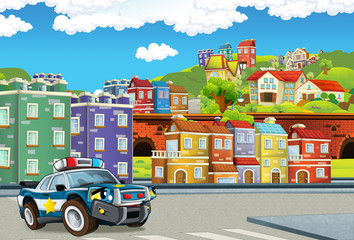 cartoon scene with police car patrolling city streets - illustration for children