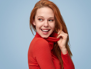 Coquette girl in red turtleneck
