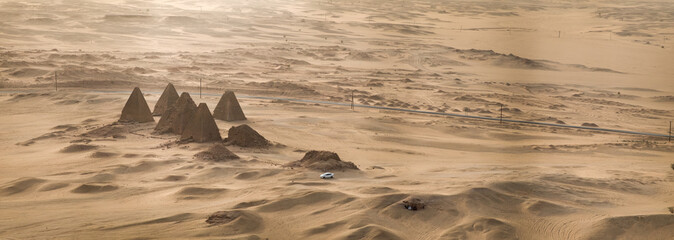 Top view of the pyramids of Karima near Nuri in Sudan