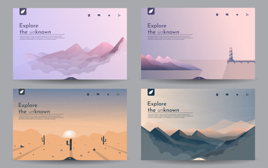 Aluminium Prints Dark grey Vector landscapes in a minimalist style