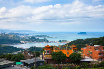Magnificent view to the old temple and the coast, Jiufen, Taiwan