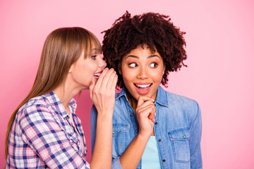 Close-up portrait of her she two person nice cute girlish lovely attractive charming cheerful girls wearing casual sharing rumour conspiracy message isolated over pink pastel background
