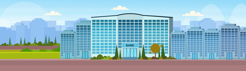 modern bank building facade with glass wall front view of financial institution entrance office exterior cityscape background horizontal banner