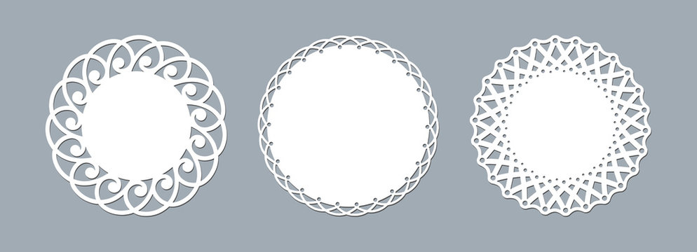 Lace doily laser cut paper Round pattern ornament Template mockup of a round white lace doily napkin lasercut frame Set Design element for lasercut elegant vintage invitation banner Vector lacy doily