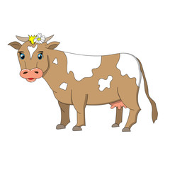Cartoonish brown and white cow white blue eyes and with a white flower in its hair.