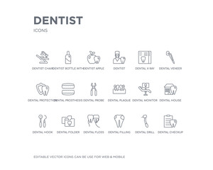 simple set of dentist vector line icons. contains such icons as dental checkup, dental drill, dental filling, floss, folder, hook, house, monitor, plaque and more. editable pixel perfect.
