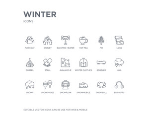simple set of winter vector line icons. contains such icons as earmuffs, snow ball, snowmobile, snowplow, snowshoes, snowy, hail, bobsled, winter clothes and more. editable pixel perfect.