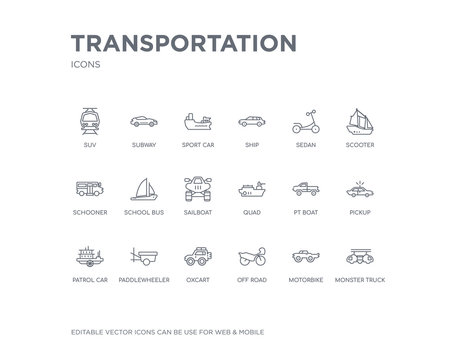 simple set of transportation vector line icons. contains such icons as monster truck, motorbike, off road, oxcart, paddlewheeler, patrol car, pickup, pt boat, quad and more. editable pixel perfect.