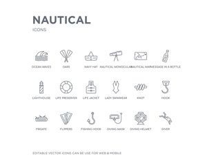 simple set of nautical vector line icons. contains such icons as diver, diving helmet, diving mask, fishing hook, flippers, frigate, hook, knot, lady swimwear and more. editable pixel perfect.
