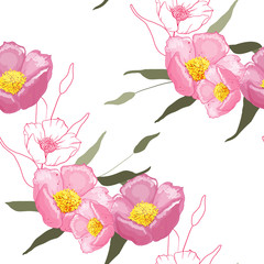 Blooming realistic garden flowers. Handdrawn style. Vector illustration. Blossom flowering seamless pattern painted by hand. Vintage background, wallpaper.
