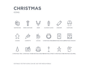 simple set of christmas vector line icons. contains such icons as christmas squirrel, christmas star, street light, sweater, train, tree, window, wishlist, wreath and more. editable pixel perfect.