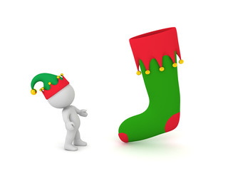 75c940c51ef4c 3D Character in Elf Hat Looking Up at Large Christmas Stocking