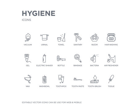 simple set of hygiene vector line icons. contains such icons as tissue, tooth brush, tooth paste, toothpick, washbowl, wax, air freshener, bacteria, bandage and more. editable pixel perfect.