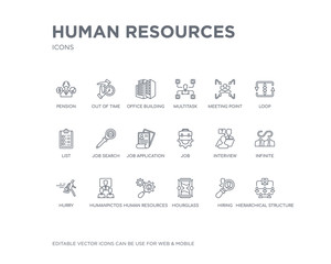 simple set of human resources vector line icons. contains such icons as hierarchical structure, hiring, hourglass, human resources, humanpictos, hurry, infinite, interview, job and more. editable