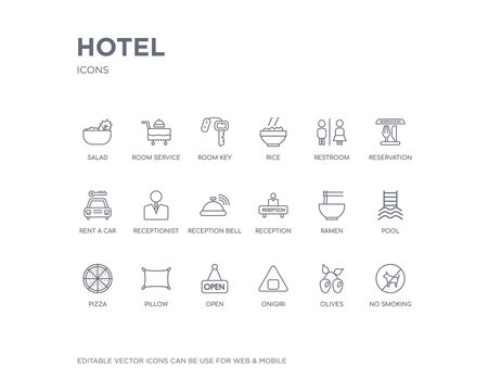simple set of hotel vector line icons. contains such icons as no smoking, olives, onigiri, open, pillow, pizza, pool, ramen, reception and more. editable pixel perfect.