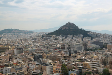 Panorama of Athens city in Greece