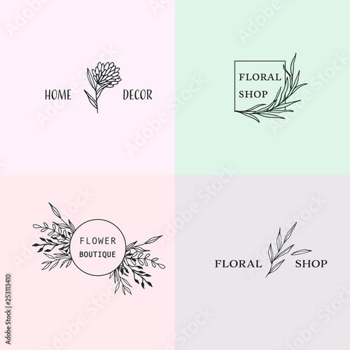 Set Of Hand Drawn Logo Design With Flower And Leaf Elements For Floral Shop Boutique Home Decor Logos Line Art Vector