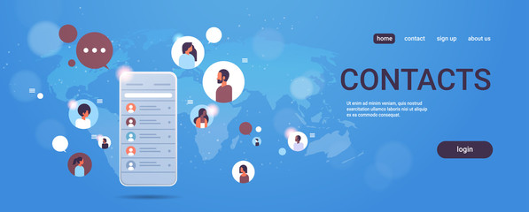 contact list of mix race people social network communication concept smartphone select contacts screen chatting messaging mobile application world map background horizontal