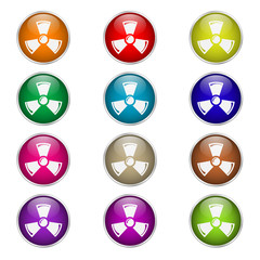 set of round color icons Radiation