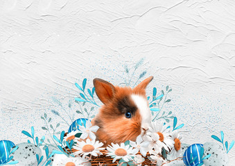 Easter background with Easter eggs, Easter bunny  and spring flowers