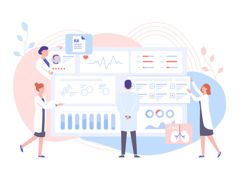 The physician doctor and the nurses analyze the patient's medical data. Big dashboard with information. Diagnosis of diseases, the study of tests and treatment. Pastel vector illustration.