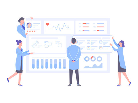 The physician doctor and the nurses analyze the patient's medical data. Big dashboard with information. Diagnosis of diseases, the study of tests and treatment. Pure light vector illustration.