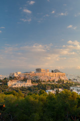 Recess Fitting Athens Vertical view on the Acropolis in Athens at sunrise. Scenic travel background with dramatic clouds. Greece