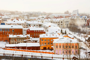 Aerial view of the old city Tomsk, Russia in winter
