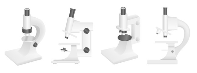 Microscope icons set. Realistic set of microscope vector icons for web design isolated on white background