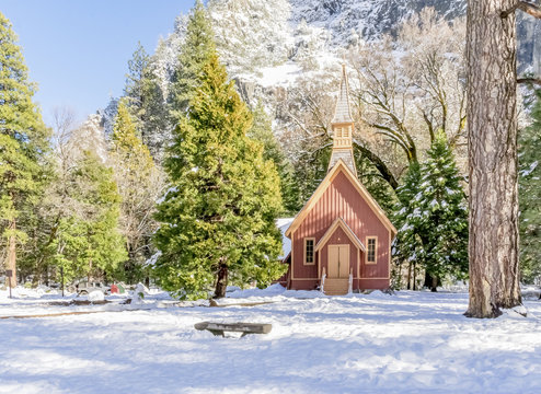 Chapel in Yosemite Valley in California