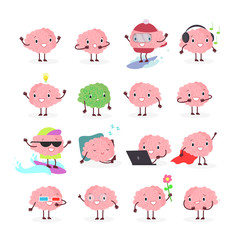 Vector illustration set of brain emoji, emotion brainy character in different positions and emotions, brainstorming set isolated on white background in flat cartoon style.