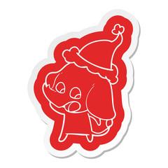 cute cartoon  sticker of a elephant wearing santa hat