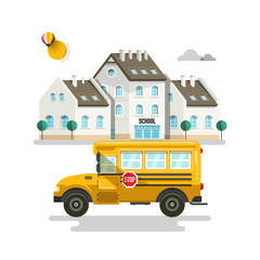 Primary or High School Exterior Buildings with Bus on Background Vector Illustration