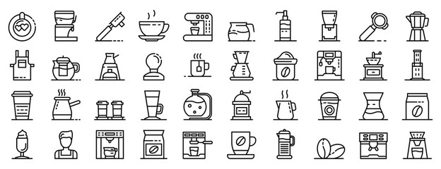 Fototapeta Barista icons set. Outline set of barista vector icons for web design isolated on white background obraz