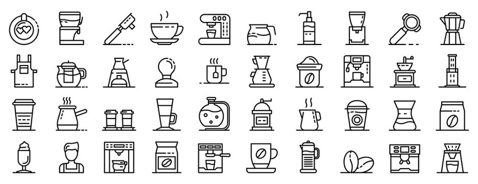 Barista icons set. Outline set of barista vector icons for web design isolated on white background