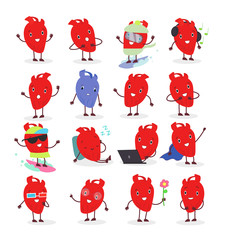 Vector illustration of cute anatomical heart character in different positions and emotional. Collection of heart emoji for stickers and web design in flat cartoon style.