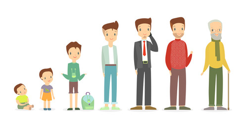 Vector illustration of a man in different ages - as a small baby boy, a child, a pupil, a teenager, an adult and an elderly person. Growing up and becoming older concept in flat cartoon style.