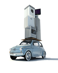 Small car loaded with house  appliances